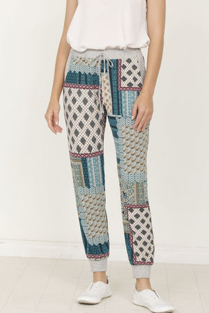 Teal Quilted Print Jogger_Plus