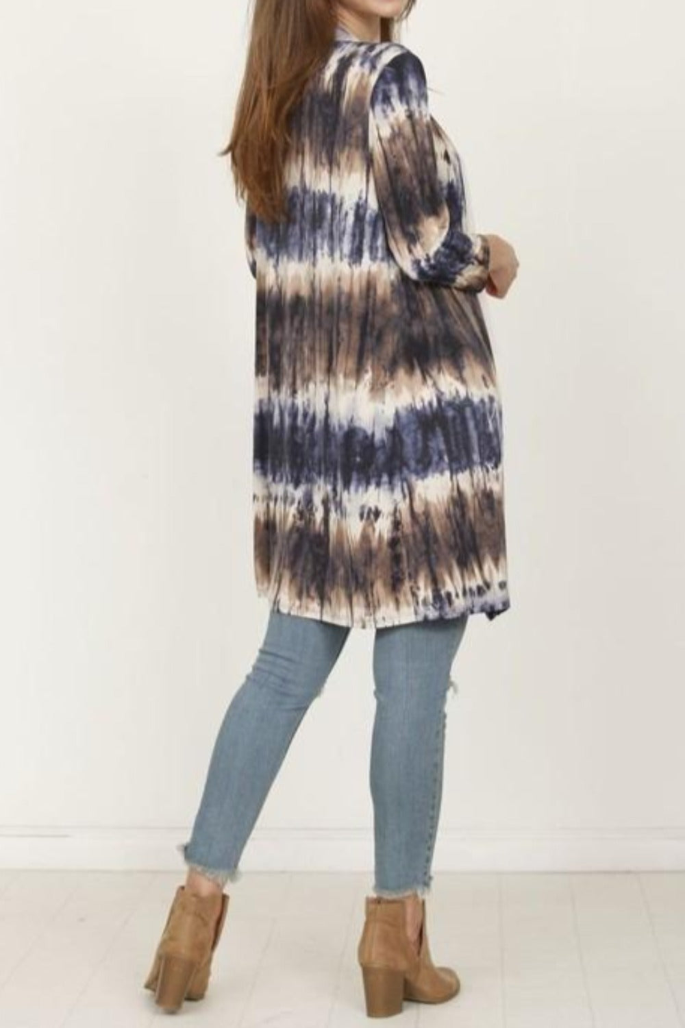 Brown & Navy Tie Dye 3/4 Sleeve Open Cardigan