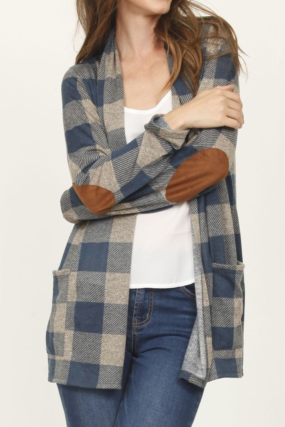 Teal Buffalo Plaid Cardigan with Elbow Patch_Plus