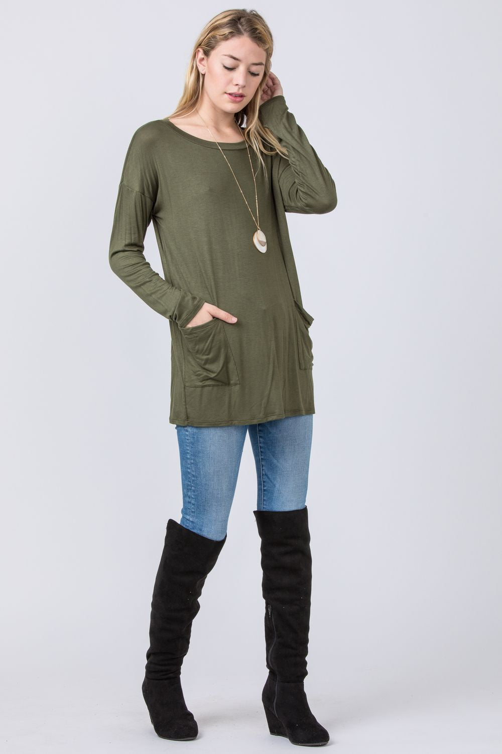 Olive & Brown Slouch Pocket Tunic