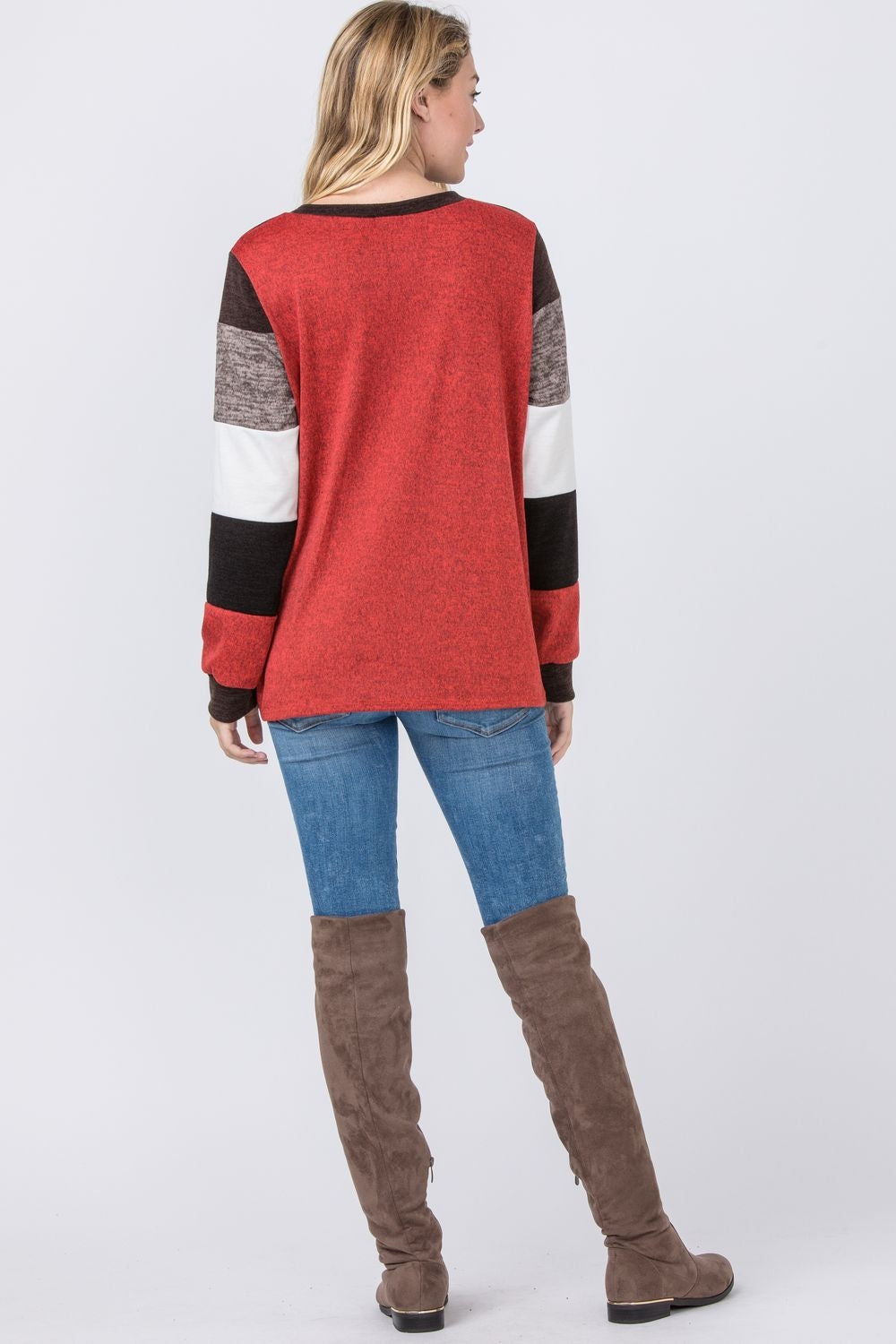 Brown & Orange Knit Color-Block Sweater