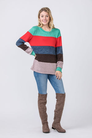 Red & Pink Knit Color-Block Sweater