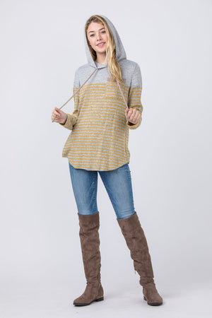 Grey & Mustard Stripe Color-Block Hoodie