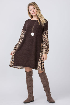 Chocolate Leopard Color Block Bishop Sleeve Dress