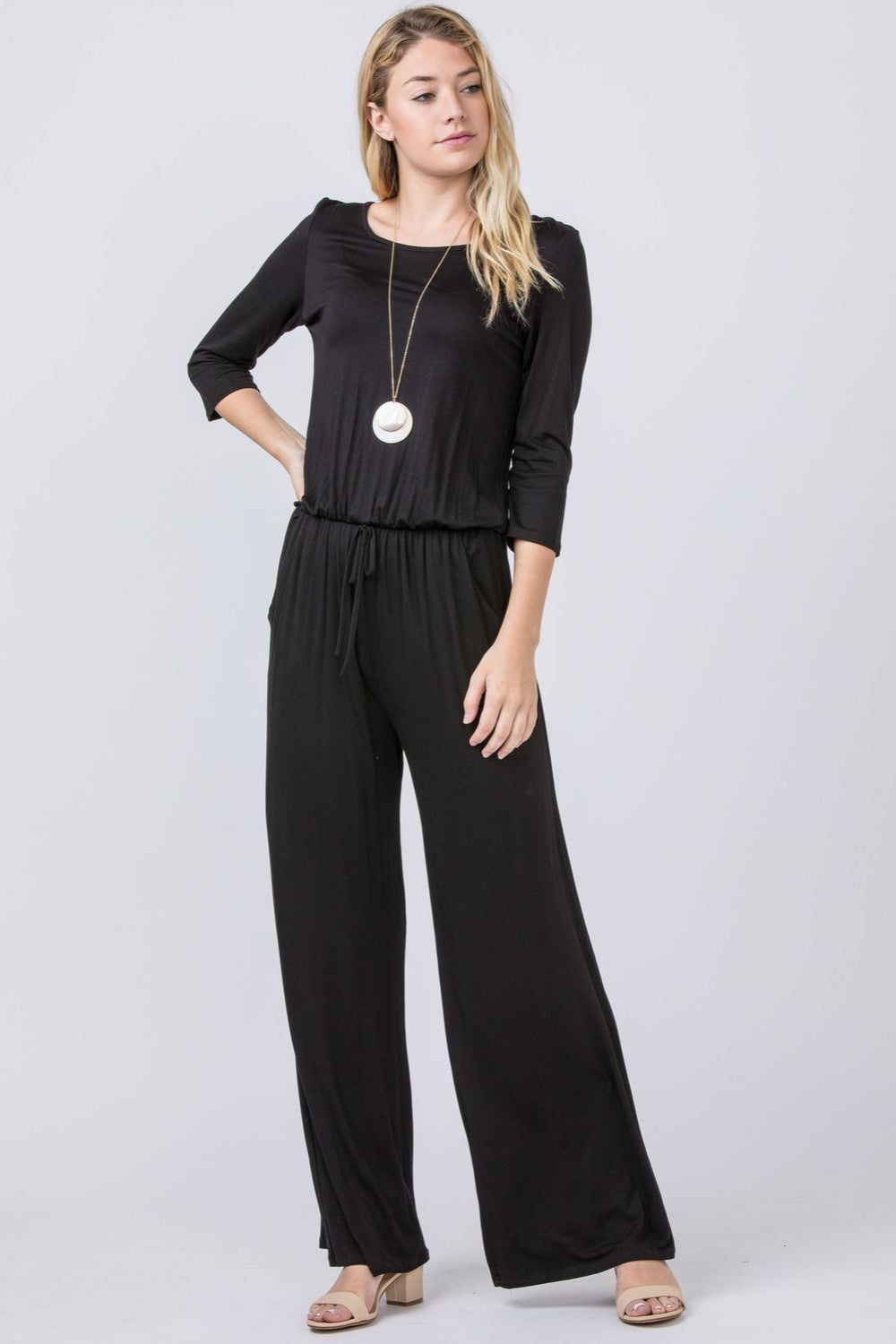 Black 3/4 Sleeve Drawstring Jumpsuit_Plus