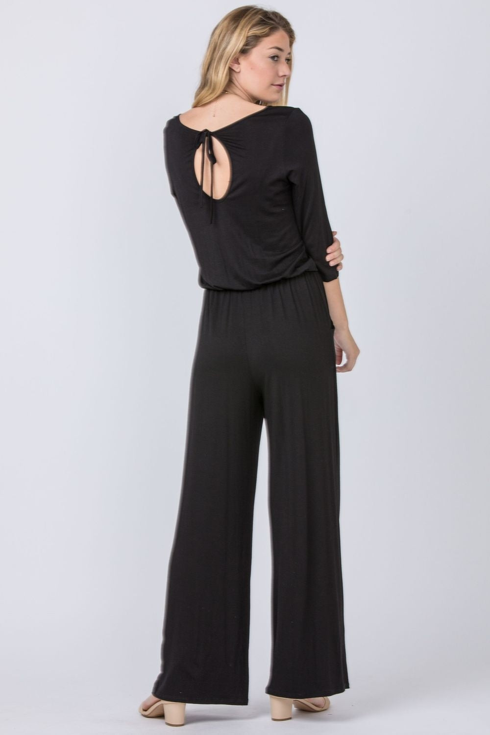 Black 3/4 Sleeve Drawstring Jumpsuit