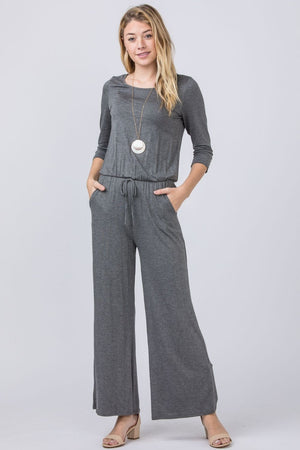 Charcoal 3/4 Sleeve Drawstring Jumpsuit