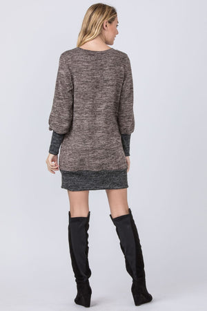 Mocha & Black Bishop Sleeve Mini Dress