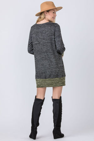 Black & Olive Bishop Sleeve Mini Dress