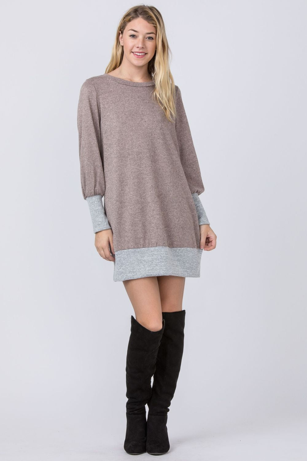 Pink & Grey Bishop Sleeve Mini Dress
