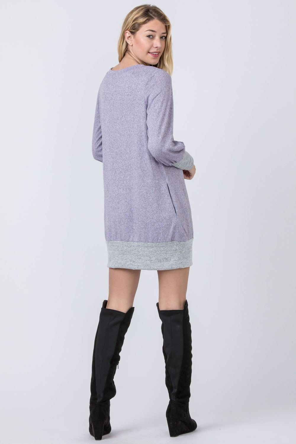 Lavender & Grey Bishop Sleeve Mini Dress