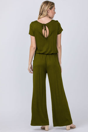 Solid Olive Short Sleeve Jumpsuit