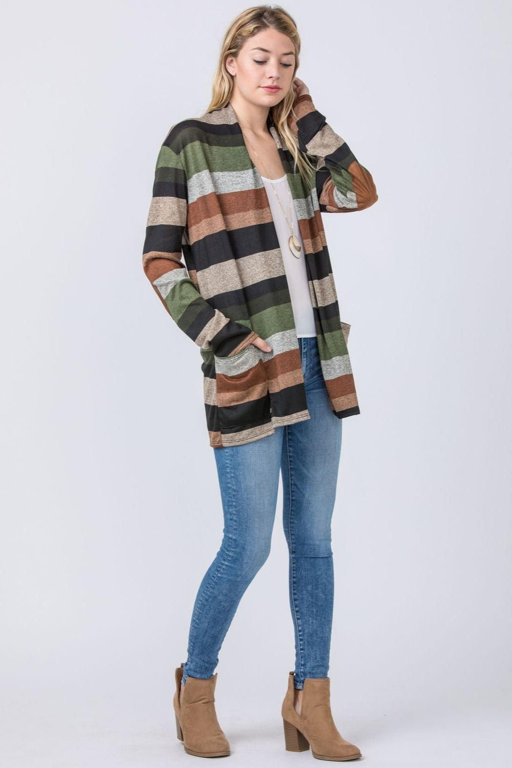 Black & Olive Stripe Cardigan with Elbow Patch