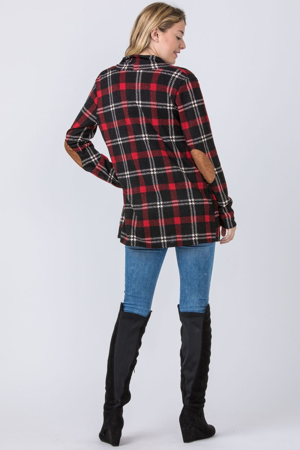 Red Plaid Elbow Patch Cardigan With Pockets