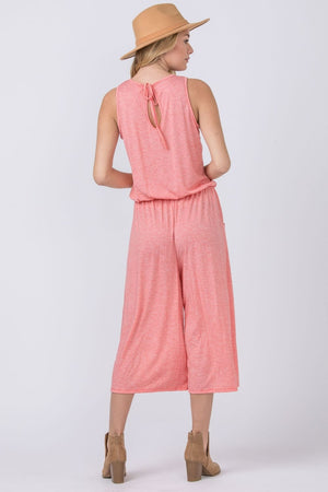 Chambray Drawstring Cropped Jumpsuit
