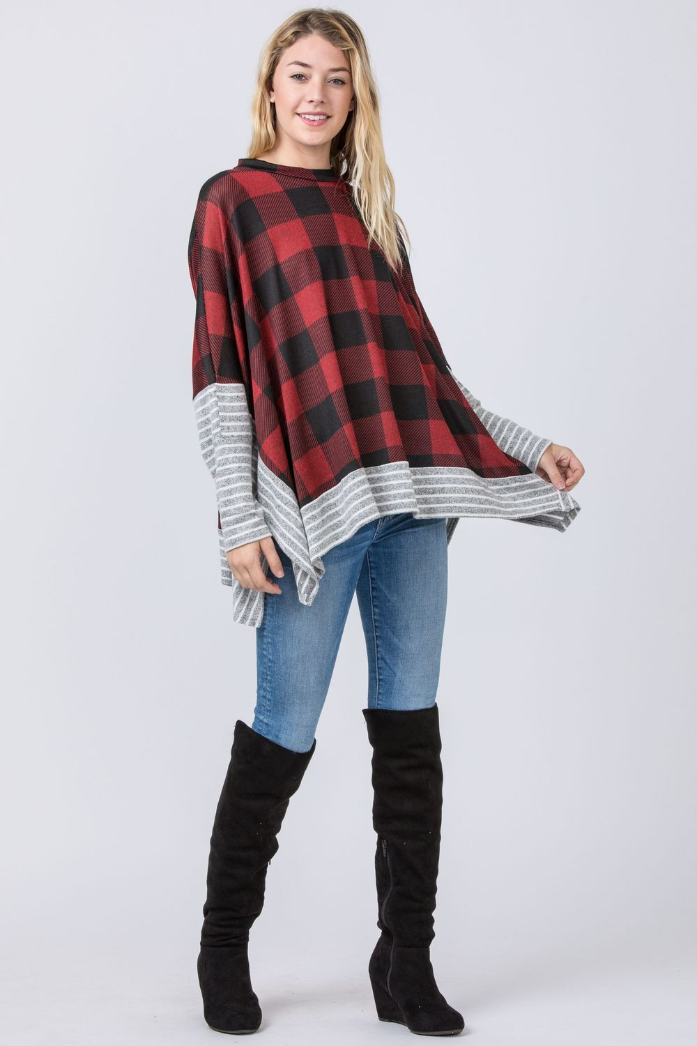 Red Buffalo Plaid Cape Style Poncho Tunic with Stripe Trim_Plus