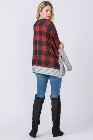 Red Buffalo Plaid Cape Style Poncho Tunic with Stripe Trim
