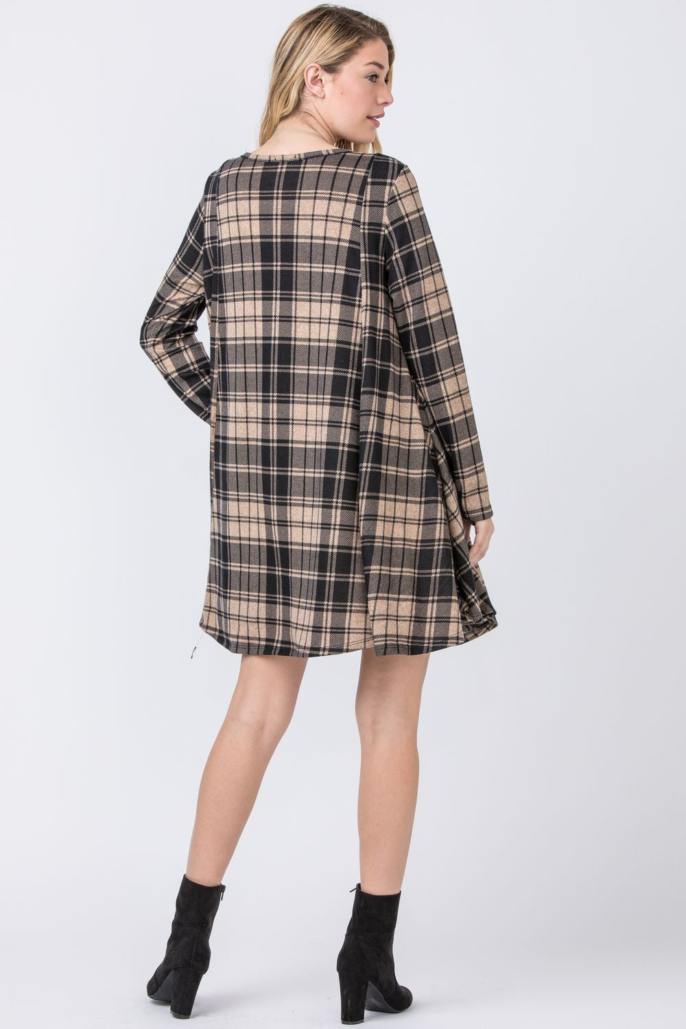 Mocha Plaid A-Line Mini Dress