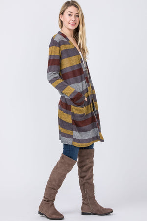 Long Stripe Cardigan with Pockets