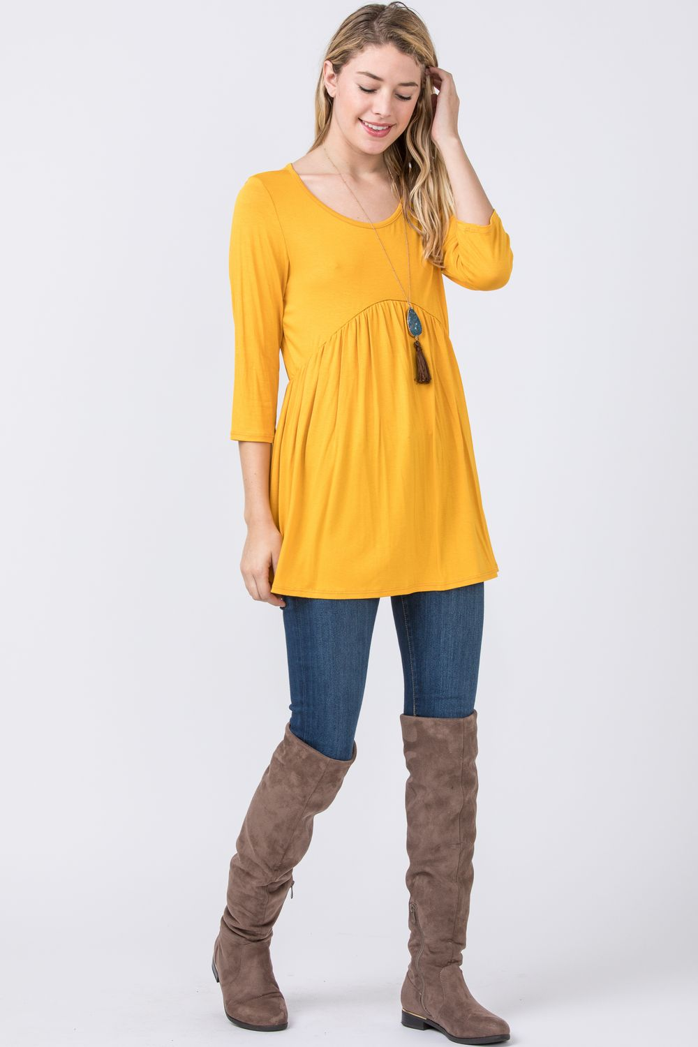 Mustard Pink Baby Doll Tunic