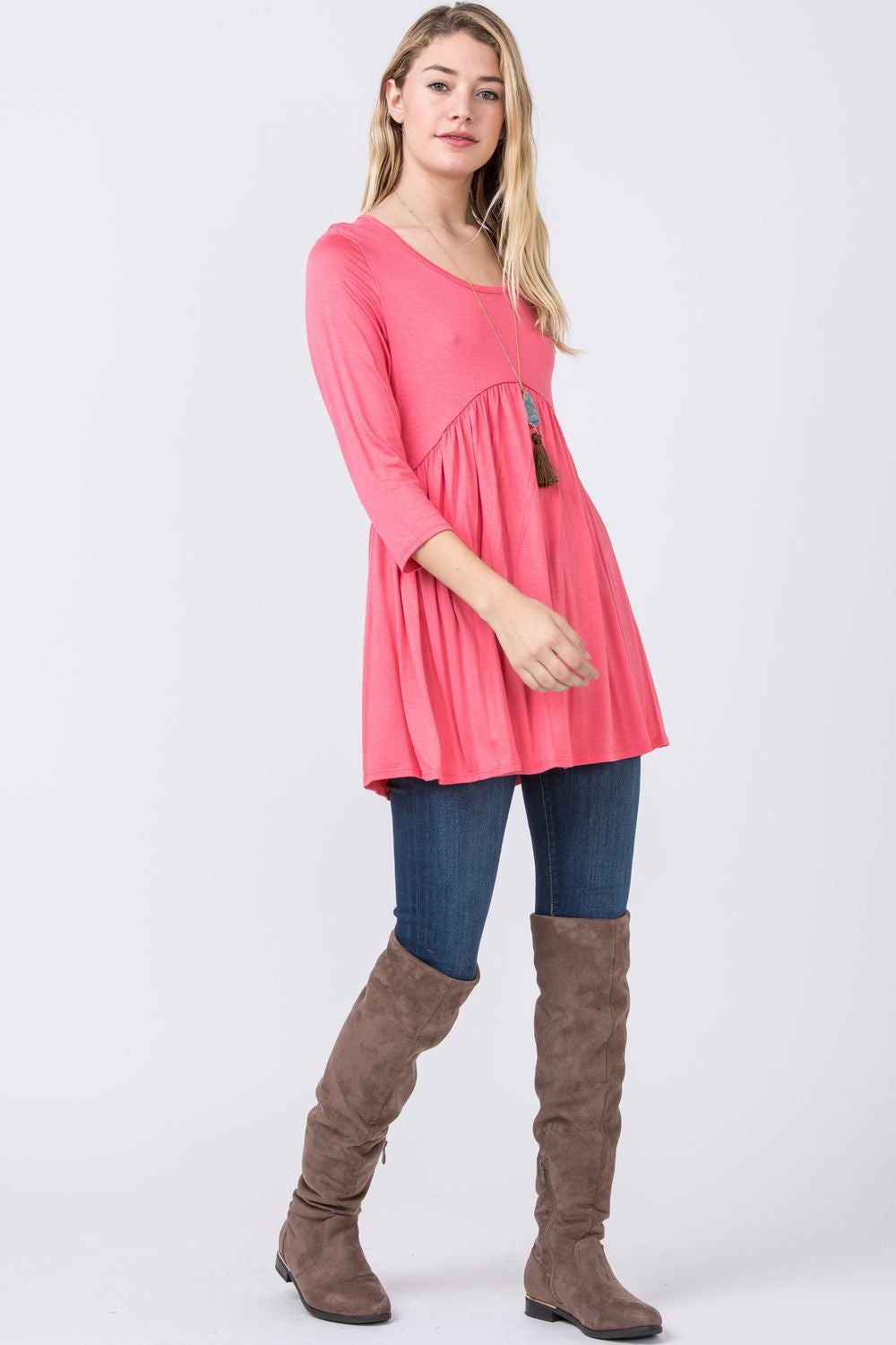 Hot Pink Baby Doll Tunic