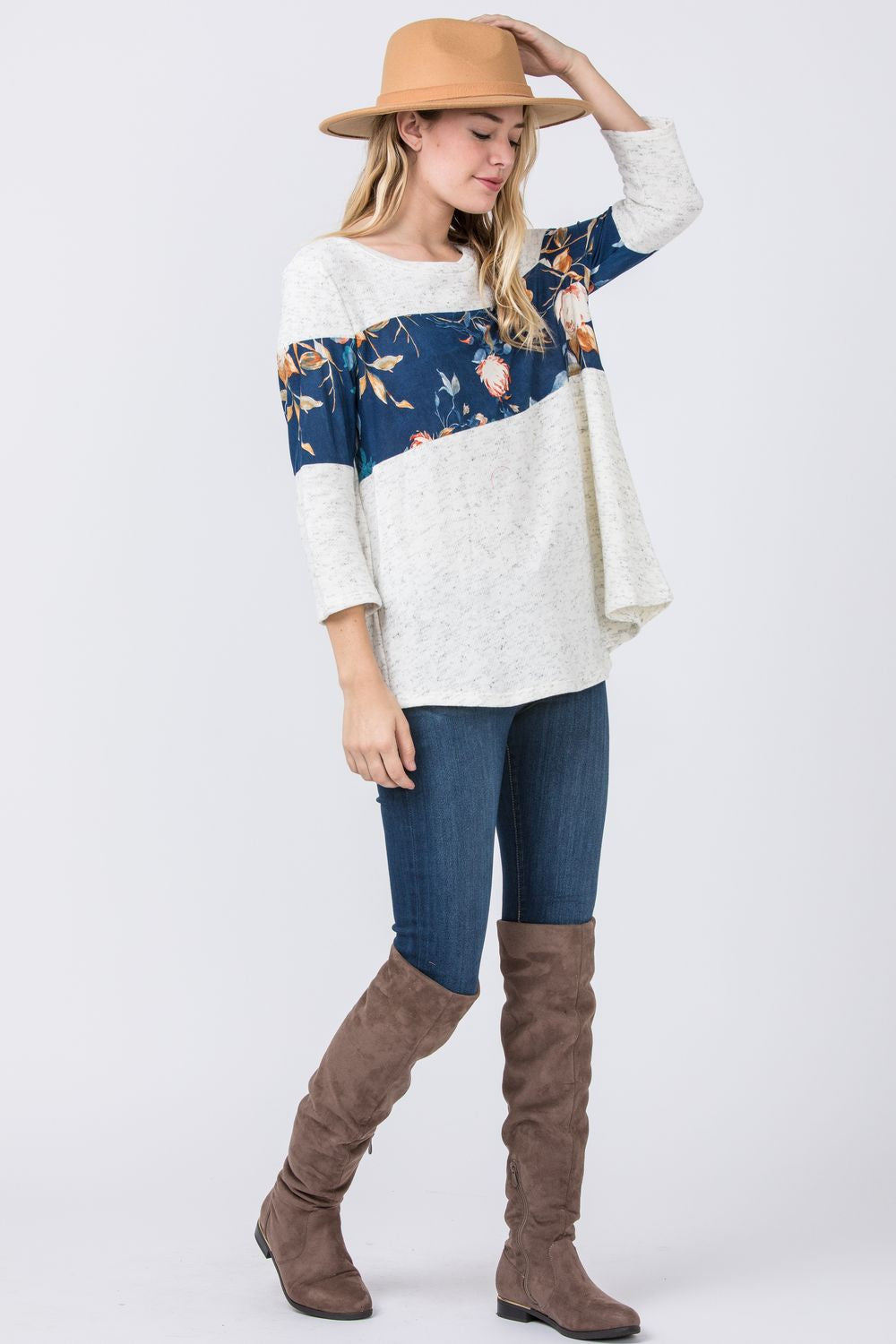 Ivory 3/4 Sleeve Teal Floral Panel Tunic