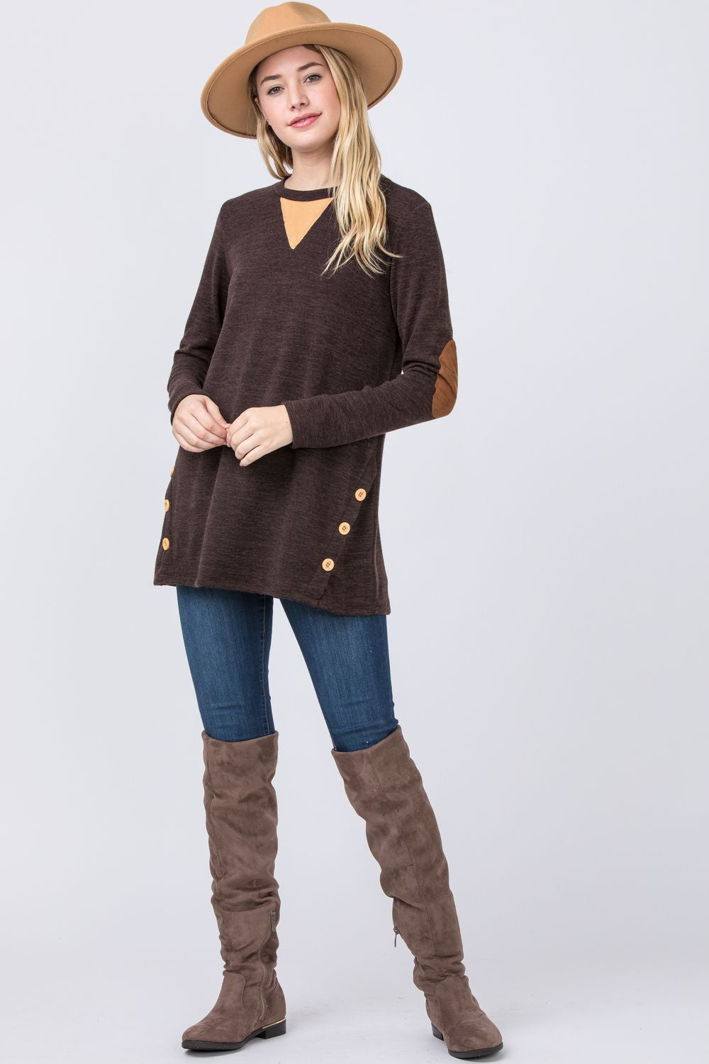 Brown Button Side Accent Tunic