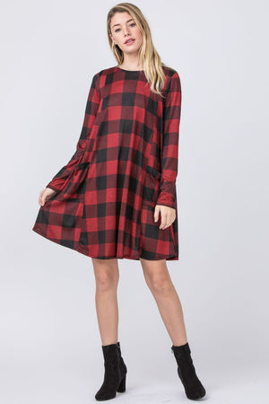 Buffalo Plaid A-Line Mini Dress