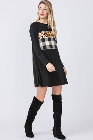 Black Leopard Check Panel Mini Dress