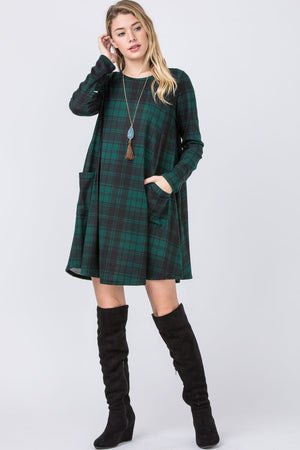 Hunter Green Plaid A-Line Mini Dress