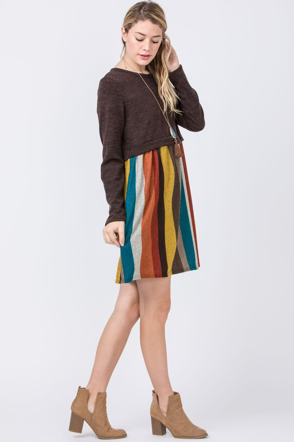 Brown Multi Color Pullover Mini Dress