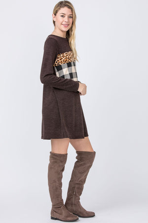 Brown Leopard Check Panel Mini Dress
