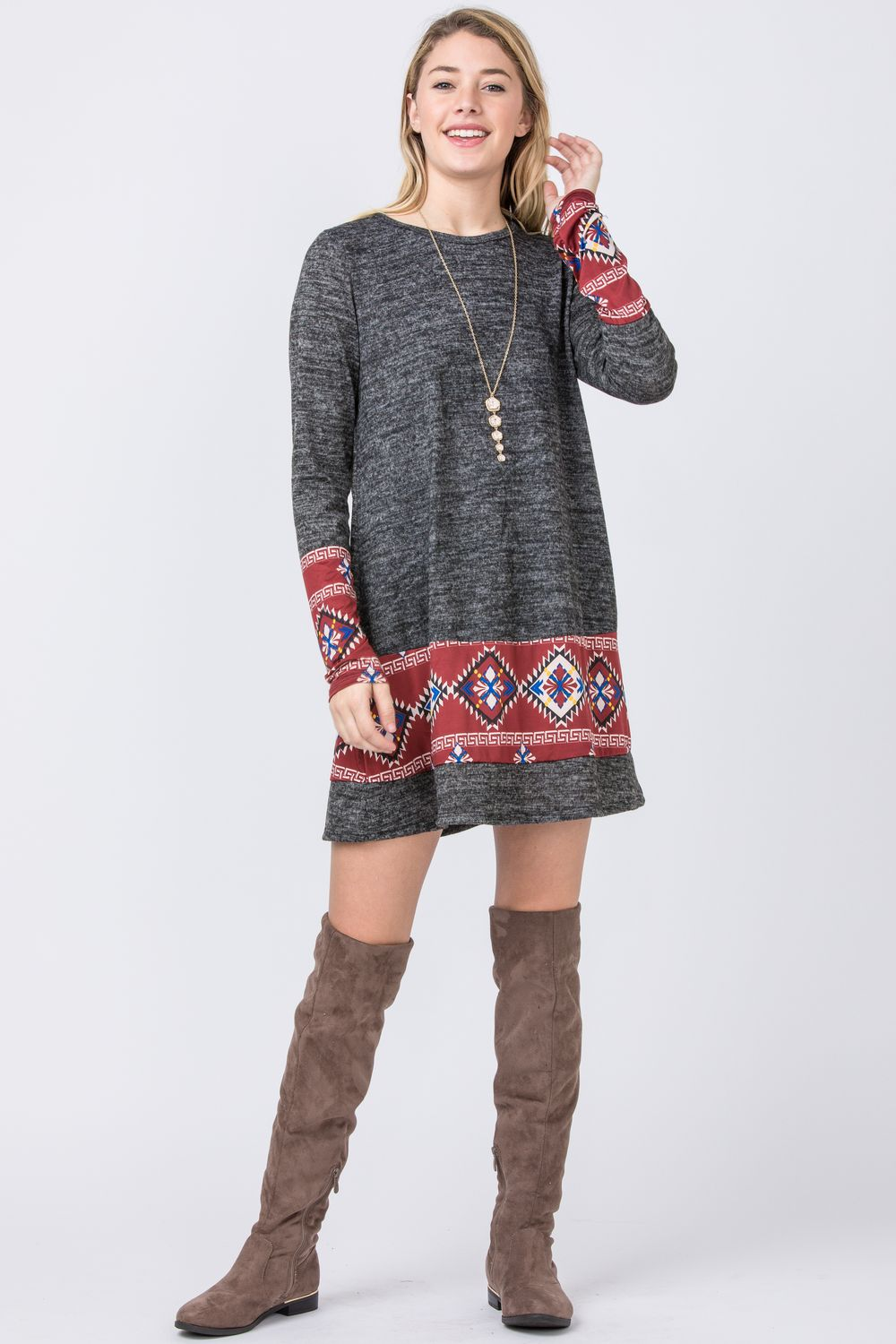 Charcoal Burgundy Tribal Print Panel Mini Dress
