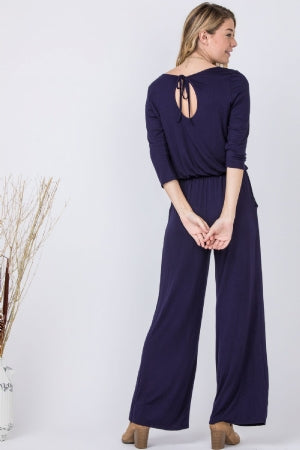 Navy 3/4 Sleeve Drawstring Jumpsuit