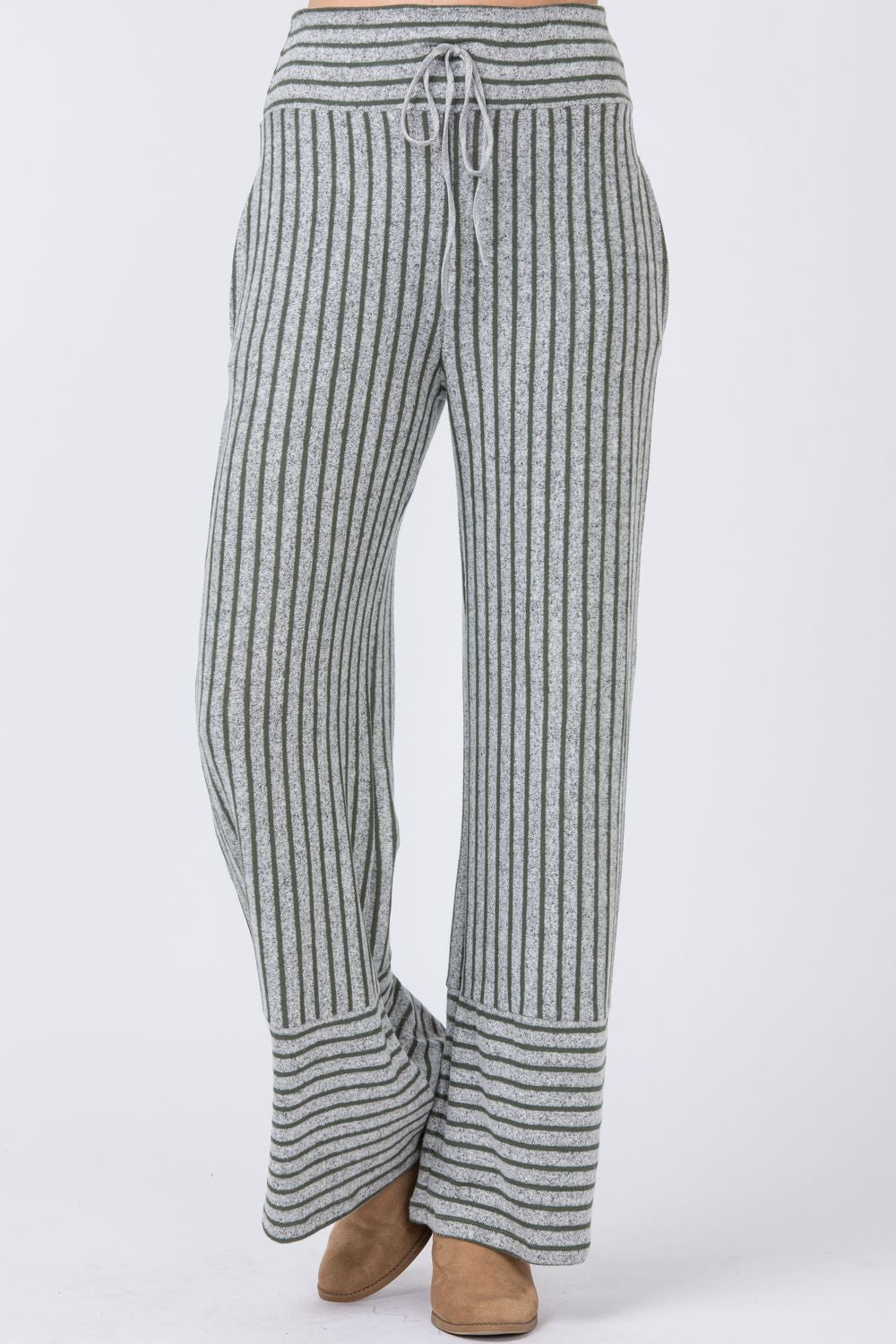 Grey & Olive Stripe Lounge Pants