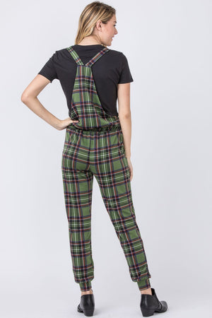 Green Plaid Overall Drawstring Jumpsuit
