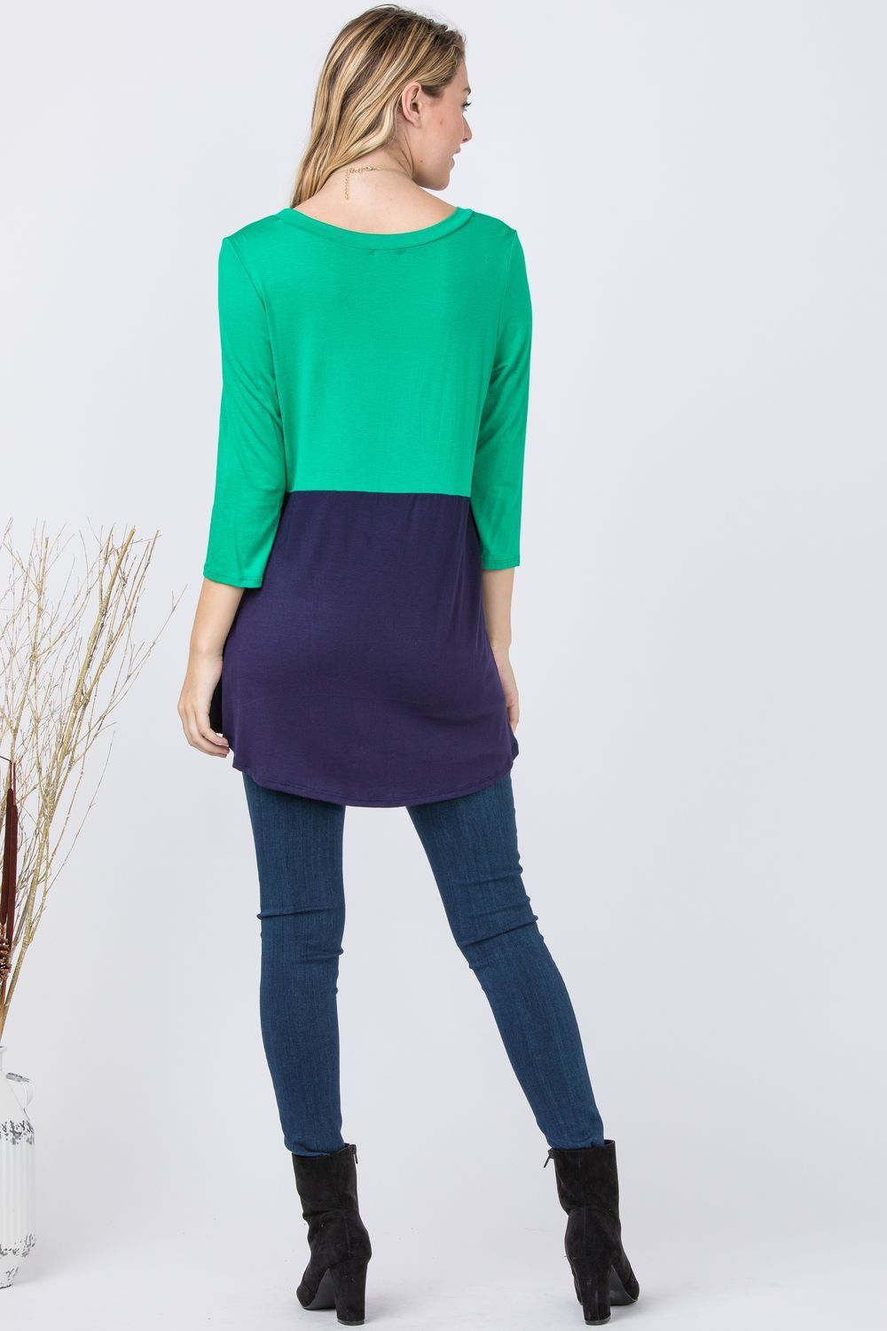 Kelly Green & Navy High Low Color-Block