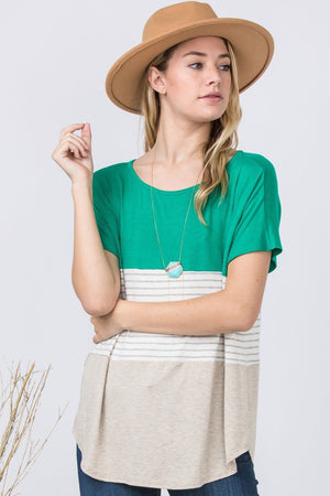 Kelly Green & Oatmeal Color Block Top