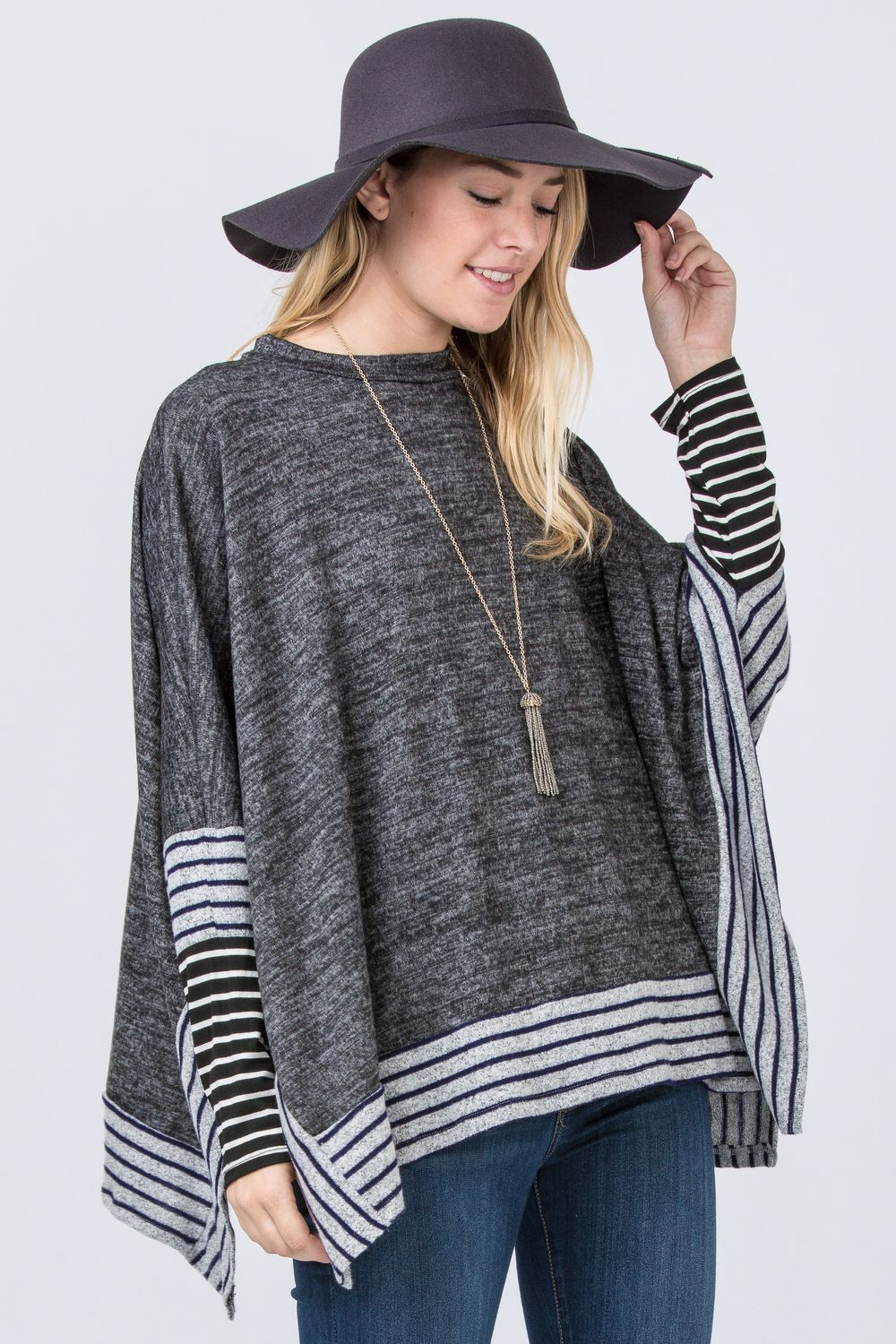 Charcoal Brushed Soft Cape Style Poncho Tunic with Stripe Trim