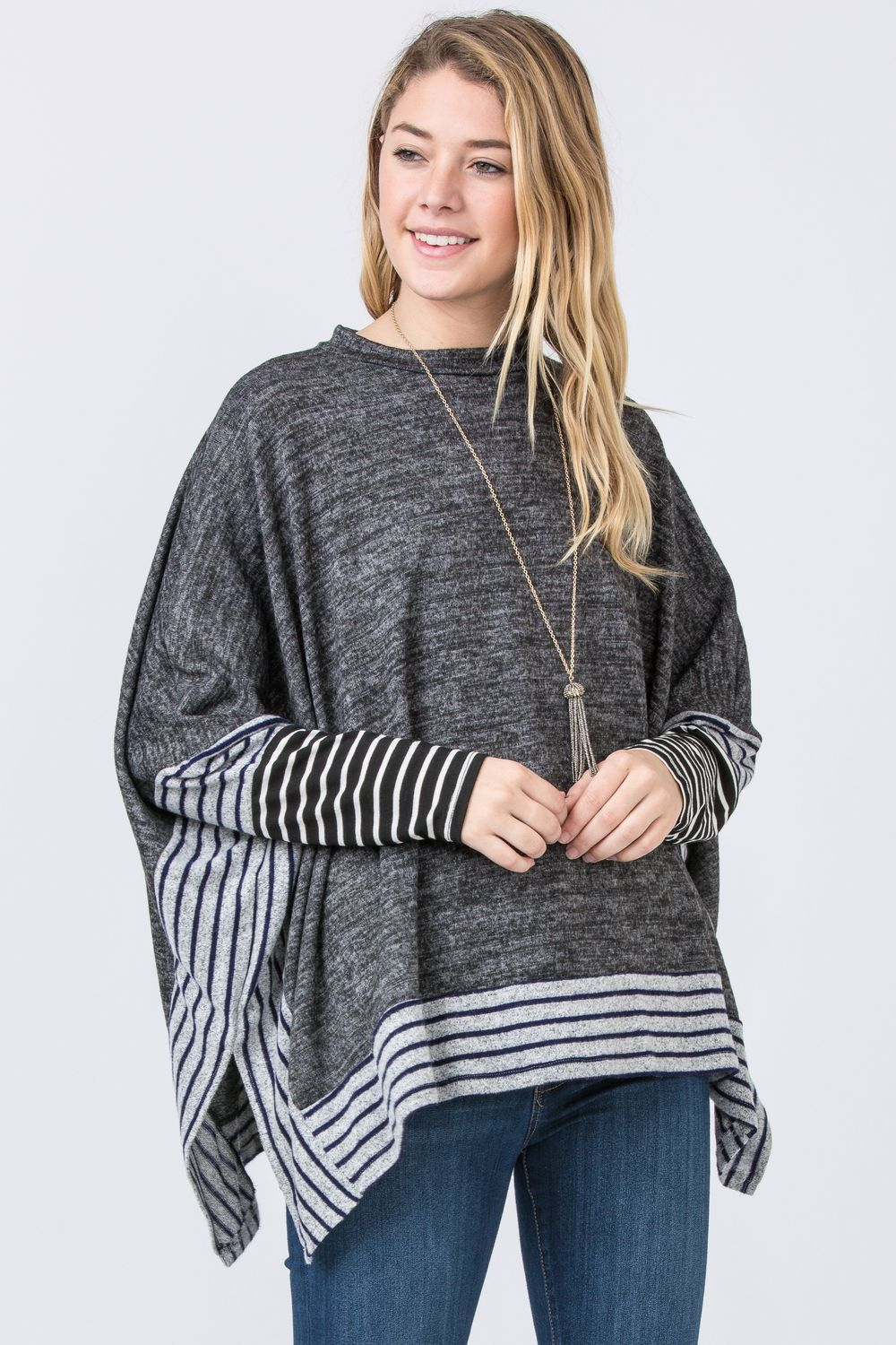 Charcoal Brushed Soft Cape Style Poncho Tunic with Stripe Trim_Plus