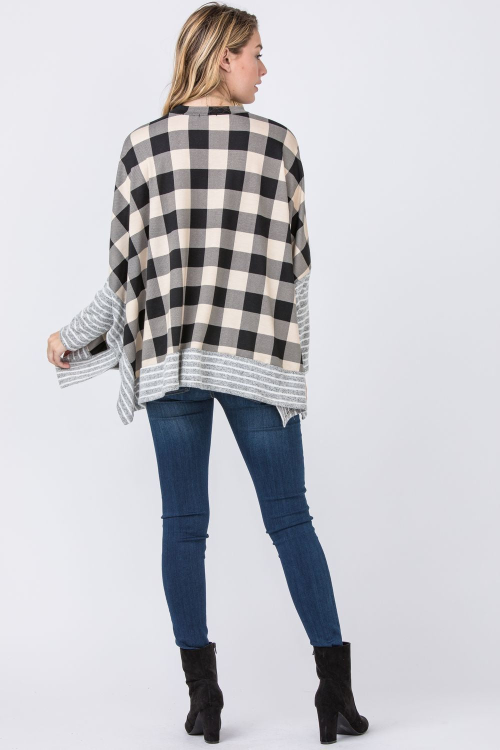 Cream Buffalo Plaid Cape Style Poncho Tunic with Stripe Trim