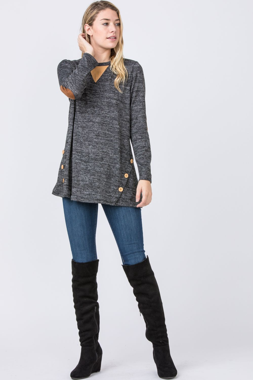 Charcoal Button Side Accent Tunic