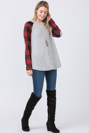 Stripe Red Buffalo Plaid Sleeve Raglan Tunic with Elbow Patch
