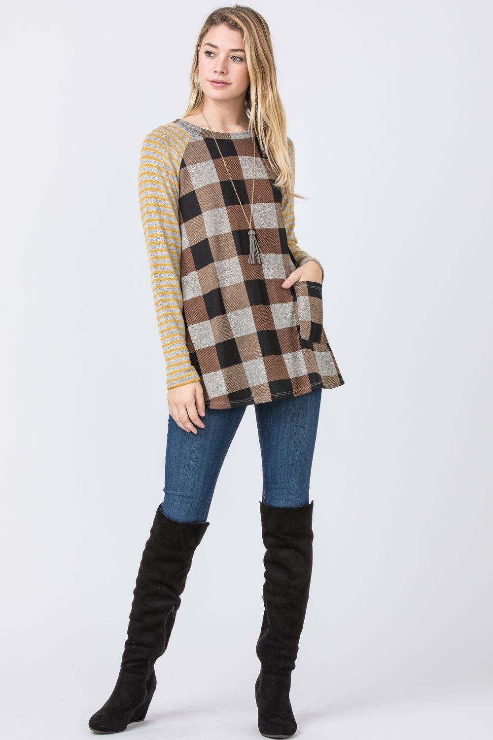 Mustard & Brown Checkered One Pocket Tunic