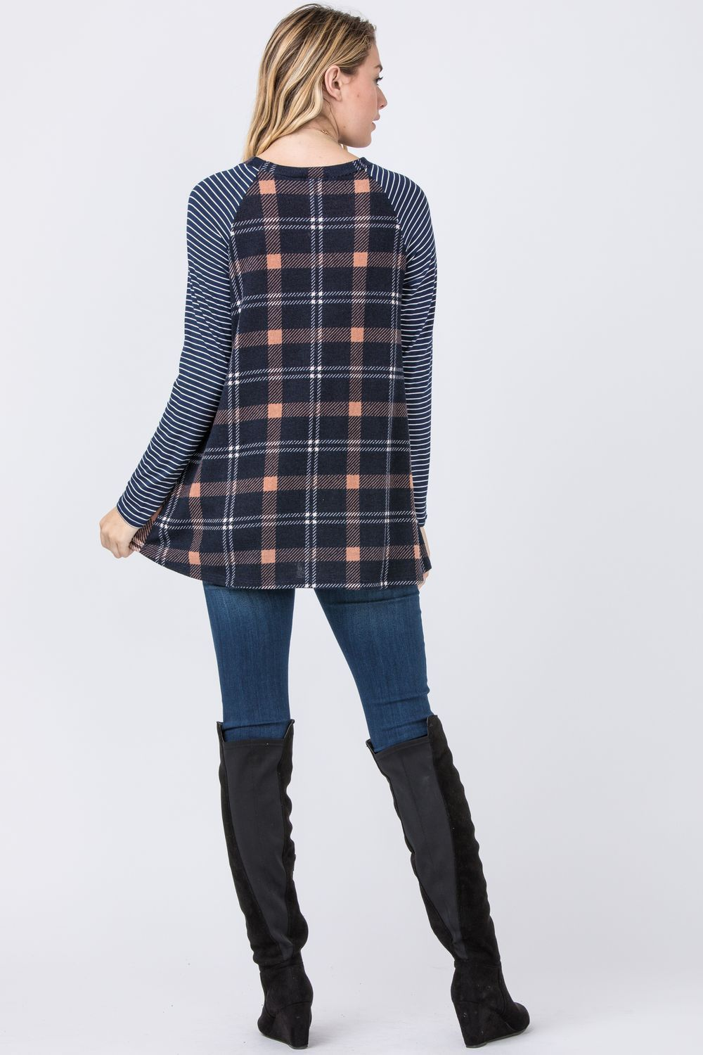 Plaid Contrast Side Pocket Tunic