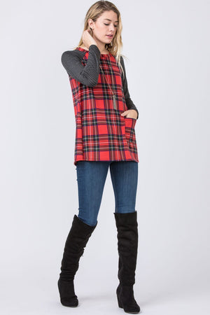 Red Plaid One Pocket Tunic