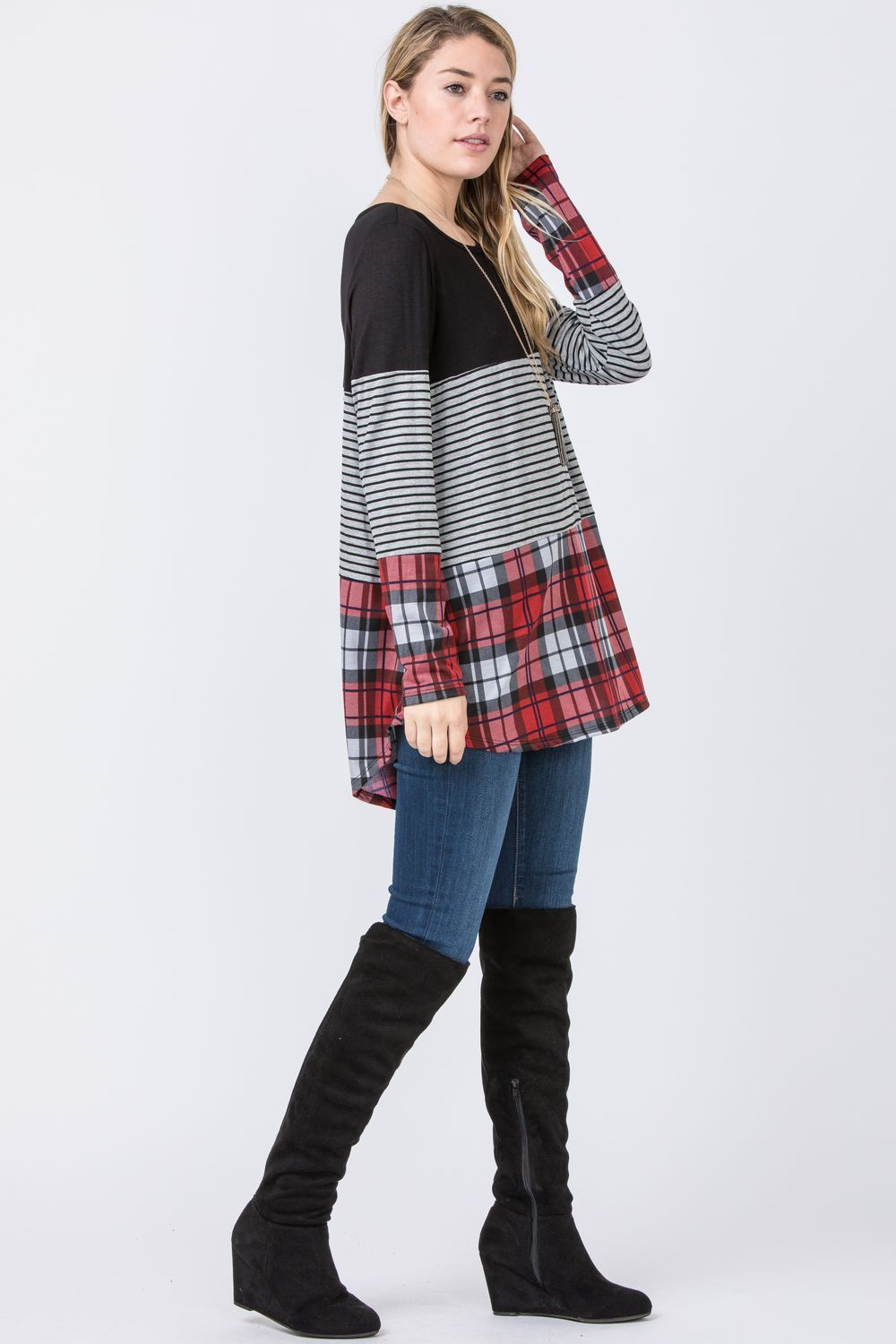 Black & Red Plaid Color Block Tunic