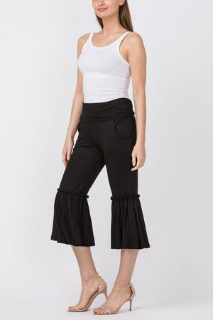 Solid Black Bell Bottom 3/4 Pants