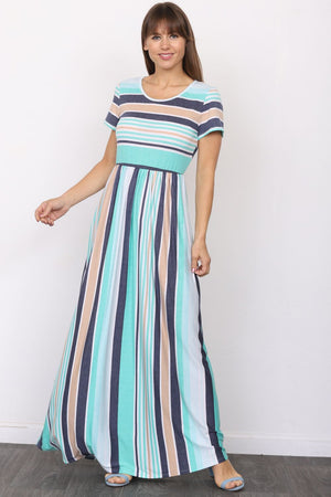 Aqua & Navy Stripe Short Sleeve Maxi Dress
