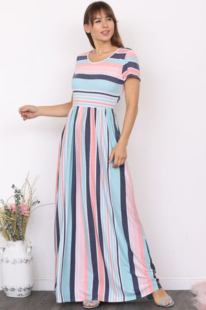 Pink & Mint Stripe Short Sleeve Maxi Dress
